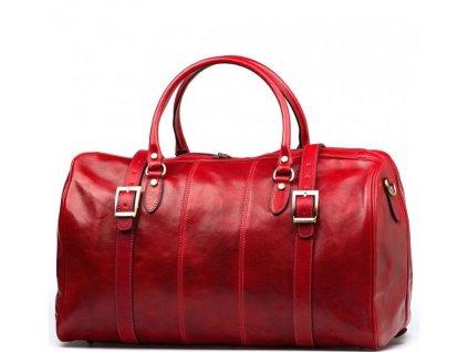 Kožená cestovní taška Milvia červená