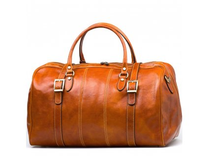 Kožená cestovní taška Milvia koňakově hnědá