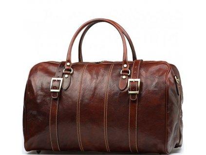 Kožená cestovní taška Milvia hnědá