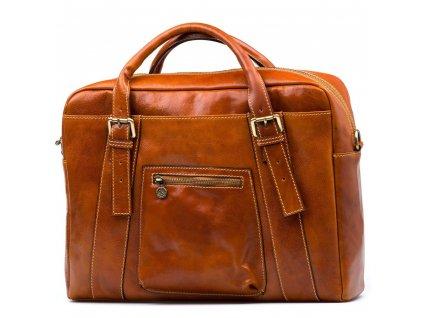 Kožená pracovní taška Elti koňakově hnědá