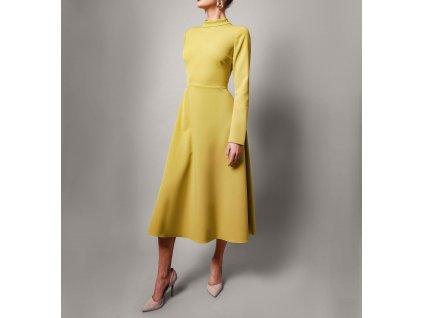 Šaty midi s otevřenými zády zelené Atelier Flannel