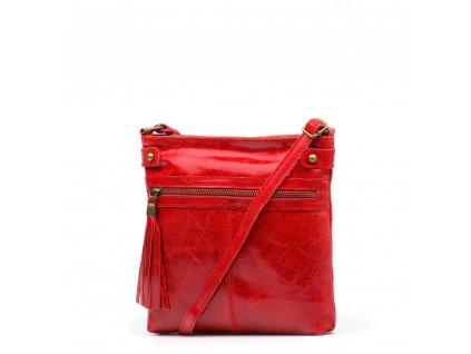 Kožená crossbody kabelka Calvina červená