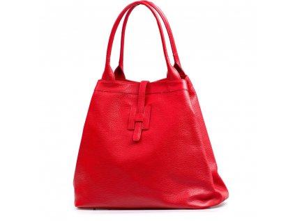 Kožená maxi kabelka Viola červená