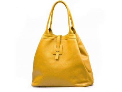Kožená maxi kabelka Viola hořčicově žlutá