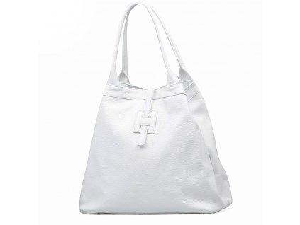 Kožená maxi kabelka Viola bílá