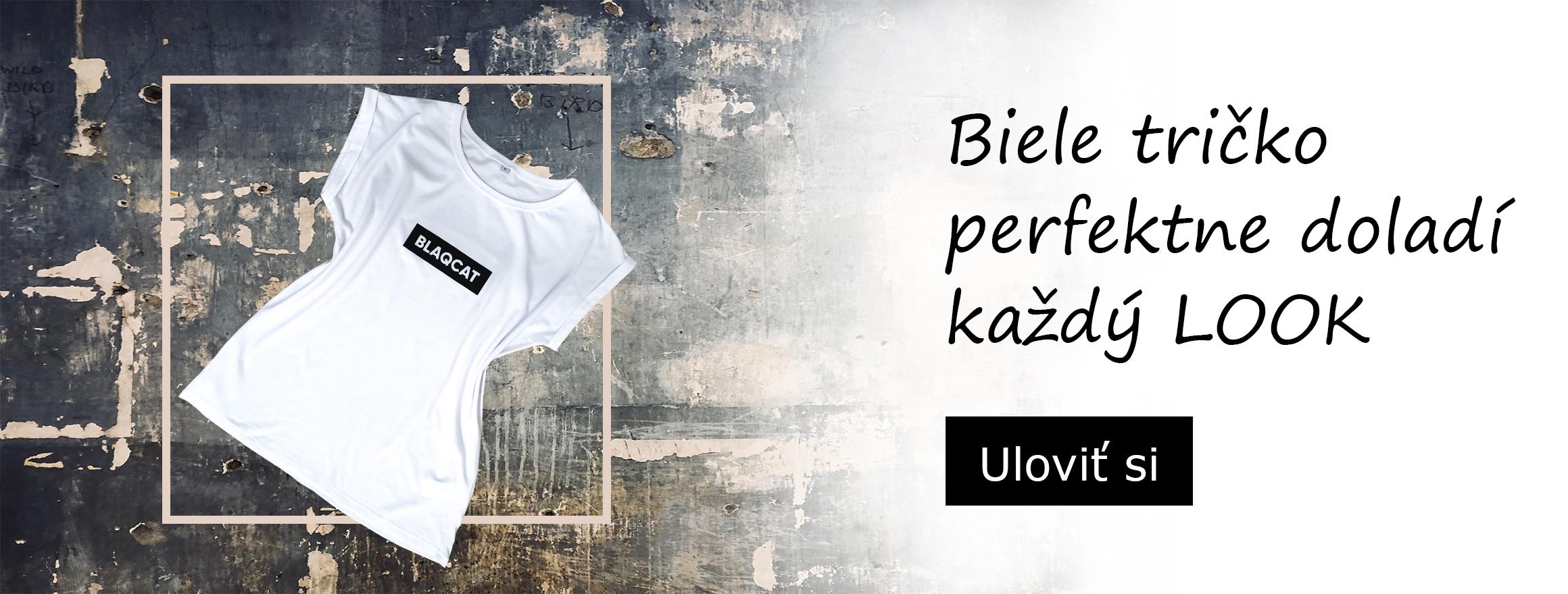 Biele predĺžené tričko BLAQCAT