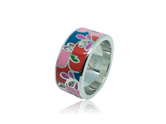 Stříbrný prsten se smaltovanými doplňky R0001158  R0001158