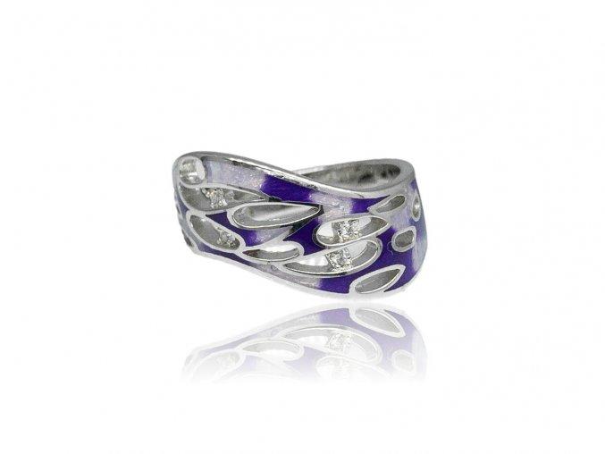 Stříbrný prsten se smaltovanými doplňky R0001065  R0001065