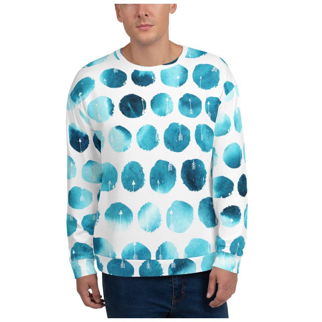allover print unisex sweatshirt front blue arrow 2 allover print unisex swe mockup Front Mens White