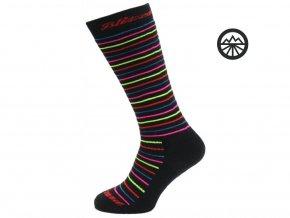 32036 lyzarske ponozky blizzard viva allround ski socks junior black rainbow stripes