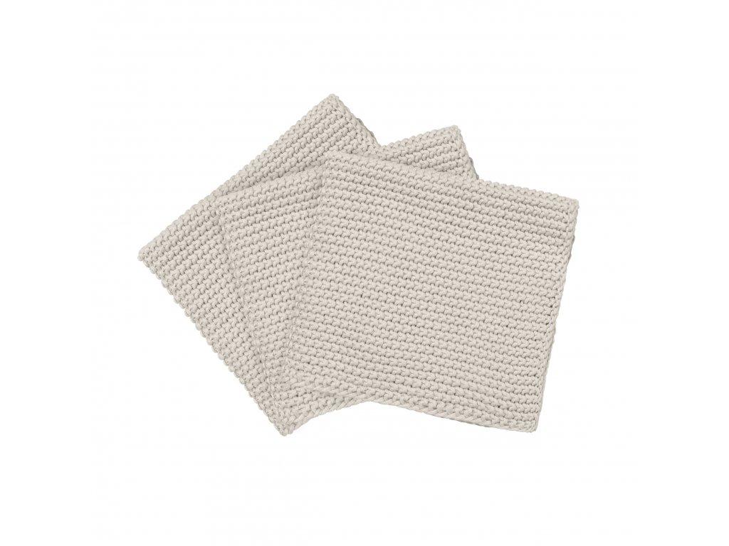 4043 1 wipe perla sada 3 pletenych uterek na nadobi kremova