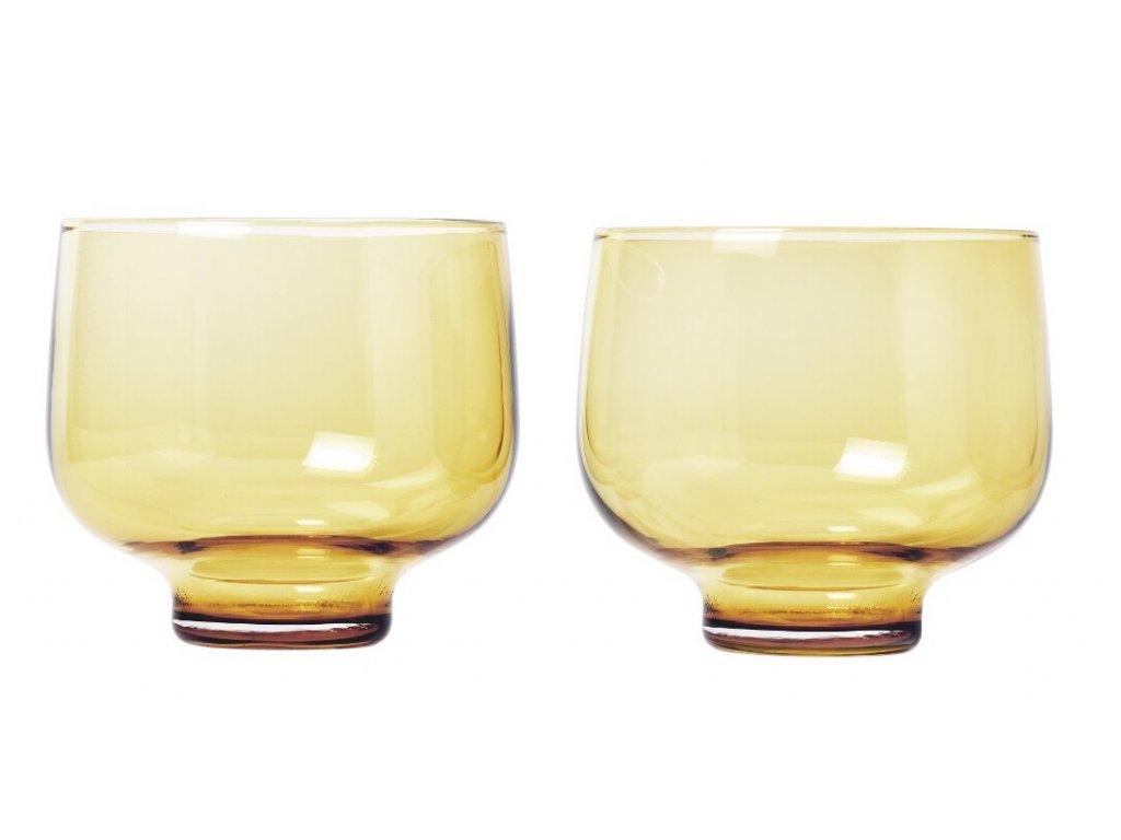 FLOW Sada 2 odlivek Ø 8,5 cm, V 0,22 l jantarově žlutá
