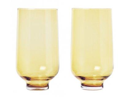 FLOW Sada 2 odlivek Ø 7,5 cm, V 0,4 l jantarově žlutá