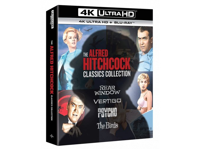 Alfred Hitchcock (4k Kolekce, Psycho, Ptáci, Vertigo, Okno do dvora, 4x 4k Ultra HD Blu-ray + 4x Blu-ray, CZ pouze na UHD)