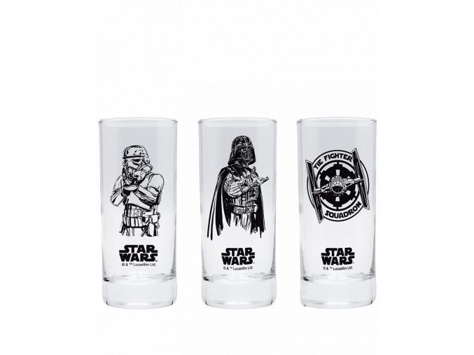 Sklenice Star Wars (sada Darth Vader, Stormtrooper, Tie Fighter)
