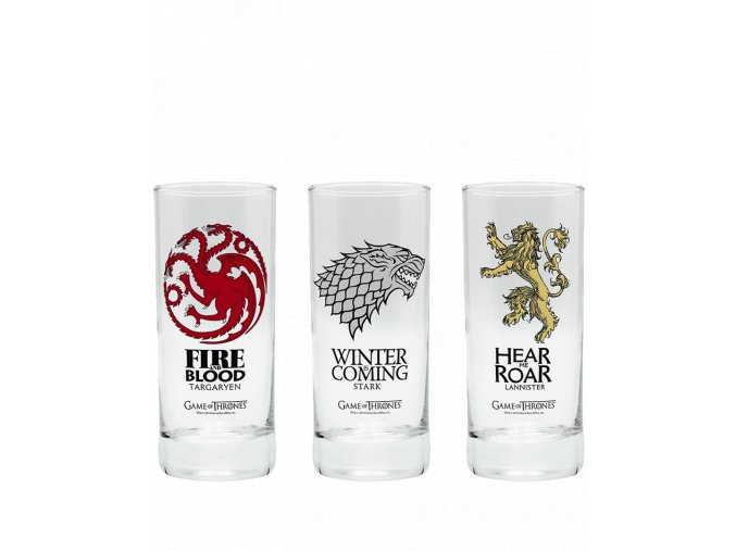 Sada sklenic Game of Thrones (Hra o trůny) - Stark, Targaryen, Lannister