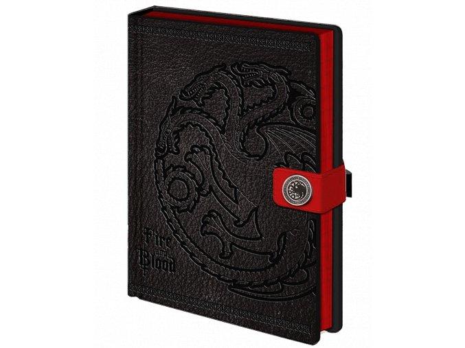 Zápisník Game Of Thrones: Targaryen (A5, linkovaný, v napodobenině kůže)