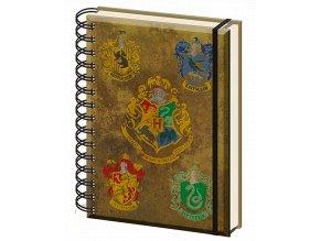 Zápisník Harry Potter: Bradavice (A5, kroužkovaný, linkovaný)