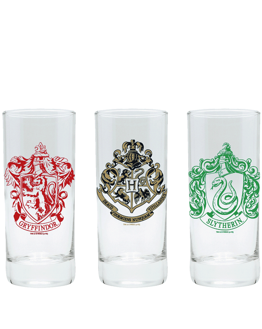 Set sklenic Harry Potter (s logy Bradavic, Nebelvíru a Zmijozelu, 3x 290 ml)