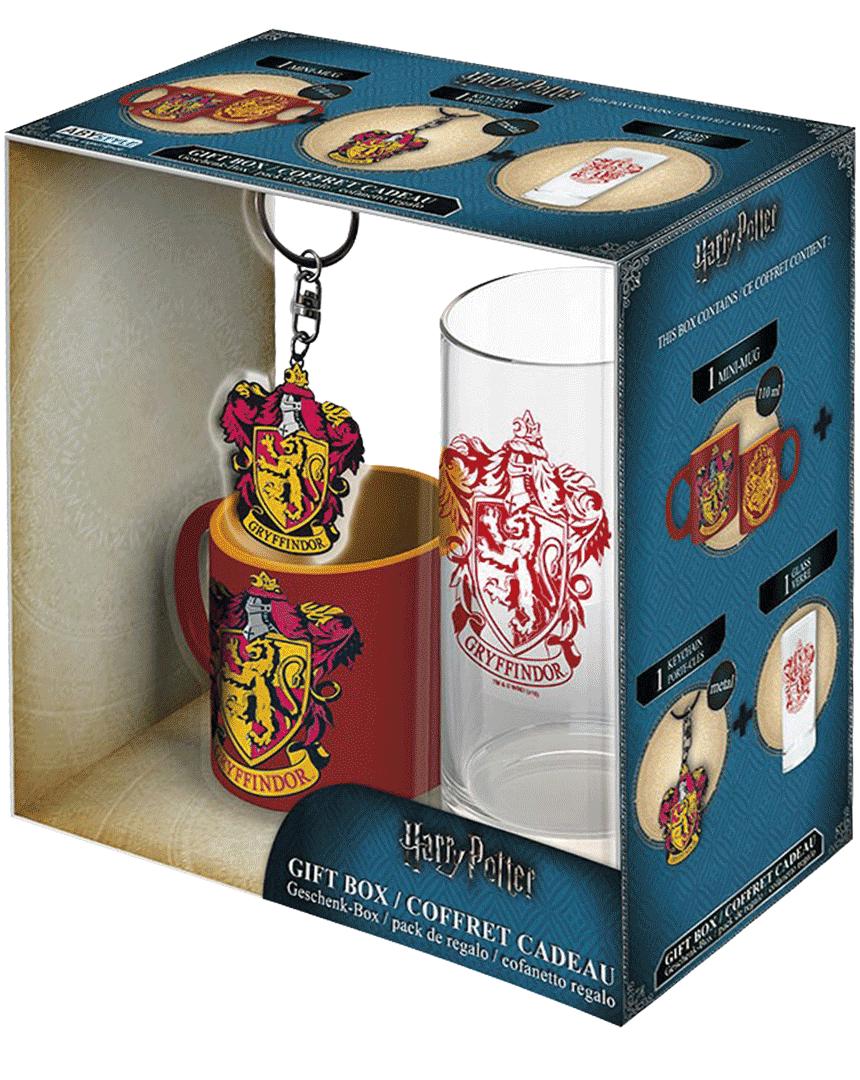 Dárkový set Harry Potter - Nebelvír (Hrneček + Klíčenka + Sklenice)