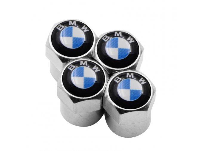 ČEPIČKY BMW LOGO MODRÉ CHROM
