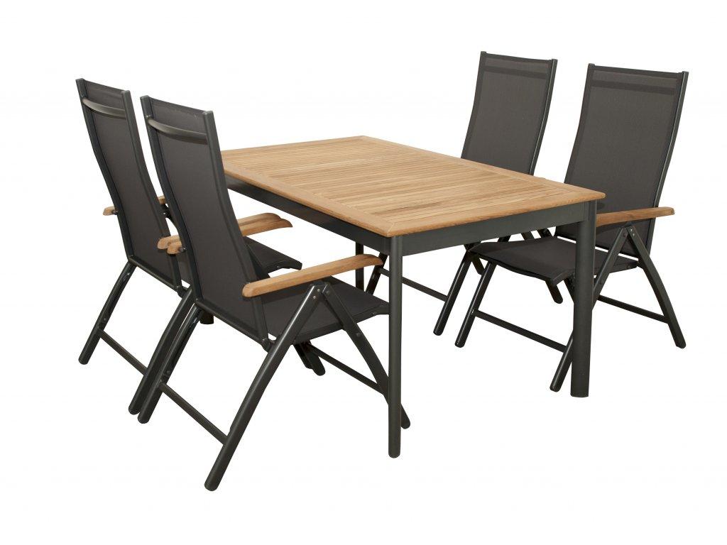 Zahradní sedací souprava (hliník/teakové dřevo) CONCEPT TEAK 4 plus 1