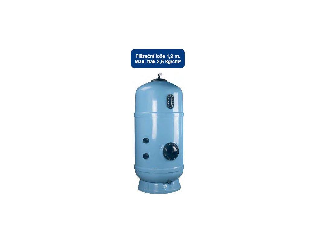Filtr Delta 1200 - vnitřní průměr filtru 1200 mm, falešné dno se vzduchovými tryskami