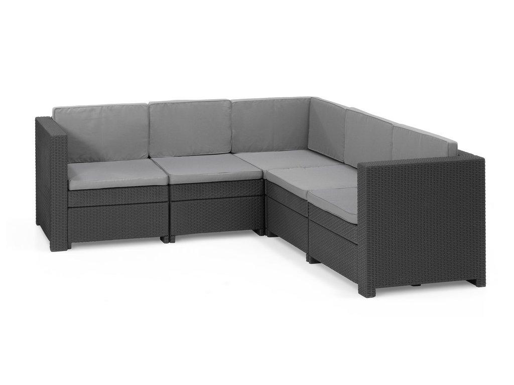 Sofa PROVENCE - antracit + šedé podušky