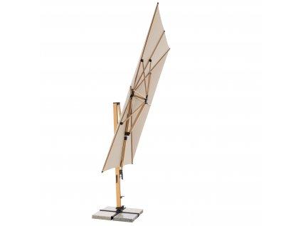 Výkyvný zahradní slunečník s boční tyčí ALU WOOD XL 4x3m