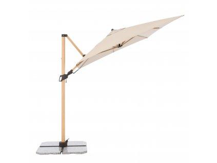 Výkyvný zahradní slunečník s boční tyčí ALU WOOD 220 x 300 cm