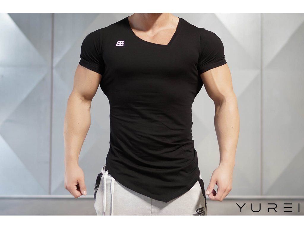 Pánské tričko YUREI asymmetric V neck - black out