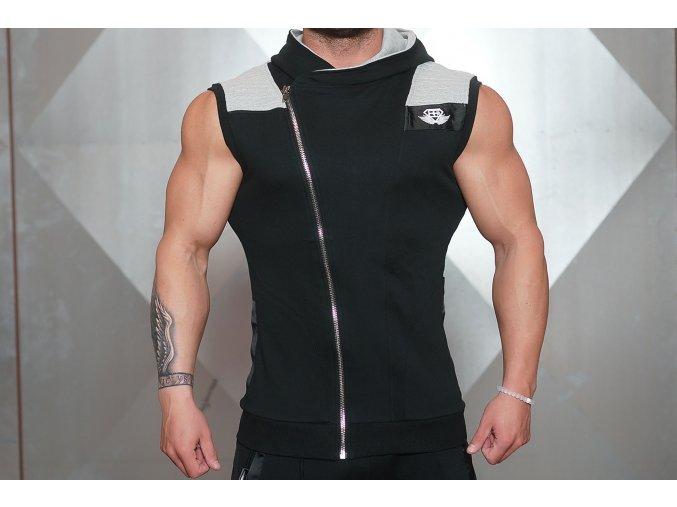 BE YUREI - vesta bez rukávů - černá s šedými doplňky