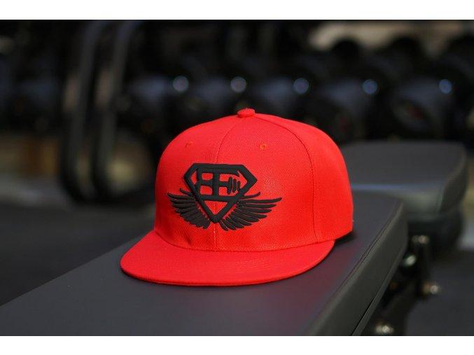 BE Snapback kšiltovka - červená s černým logem
