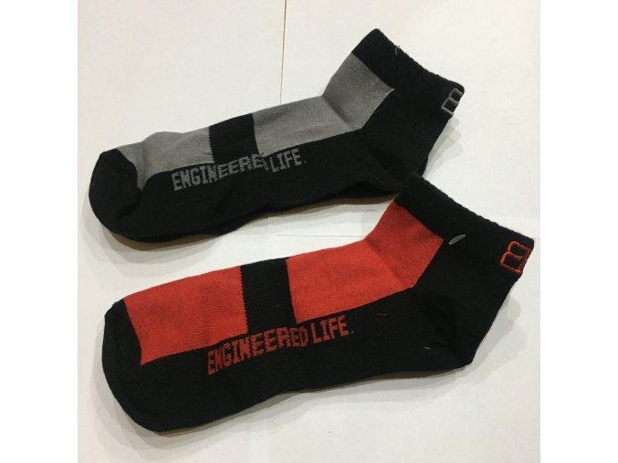 Ponožky Body Engineers - Červená / Šedá, 2ks