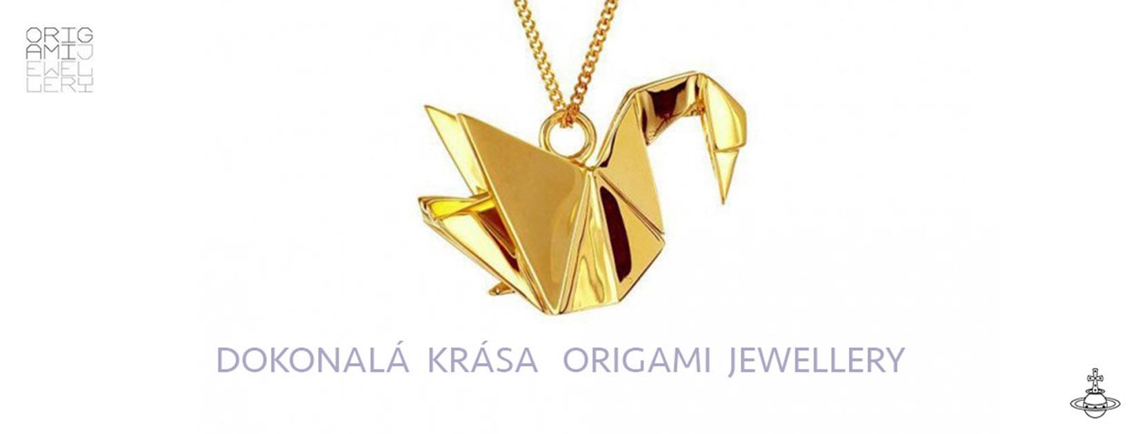 Origami Jewellery Labuť zlatá