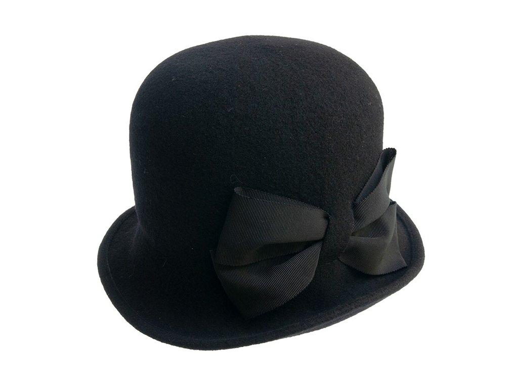 klobouk Tonak dámský pletený plstěný s Mašlí vlna černá