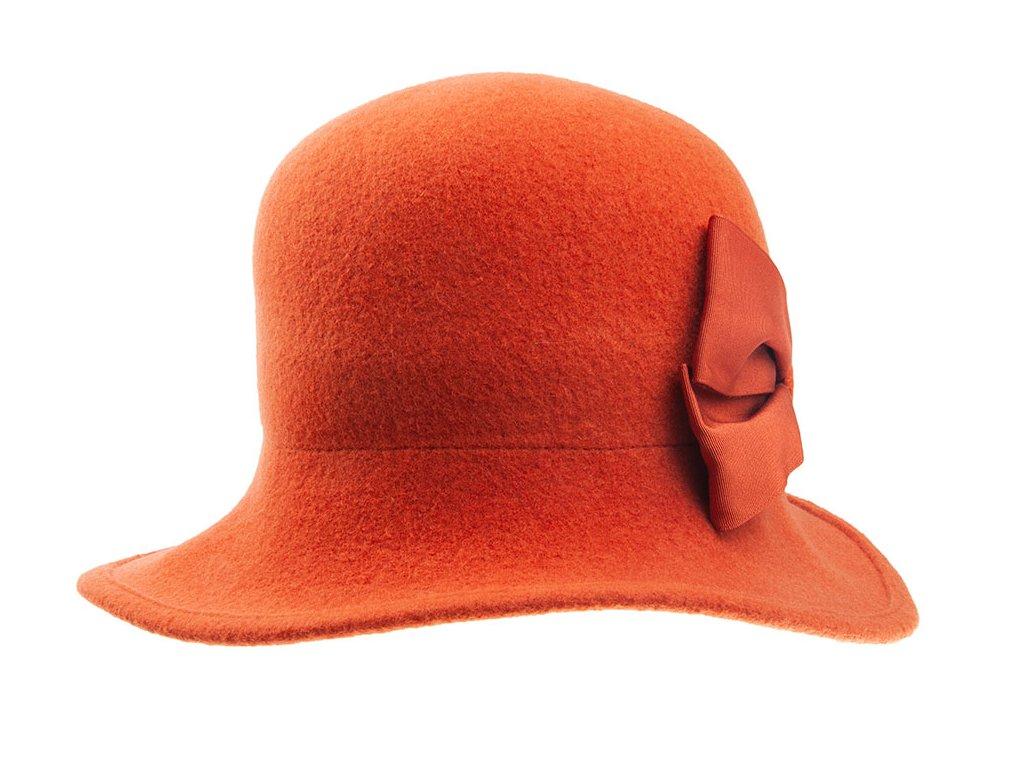 klobouk Tonak dámský pletený plstěný s Mašlí vlna oranzovy skořicová