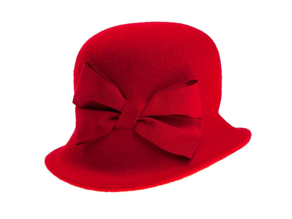 klobouk Tonak dámský pletený plstěný s Mašlí vlna červená
