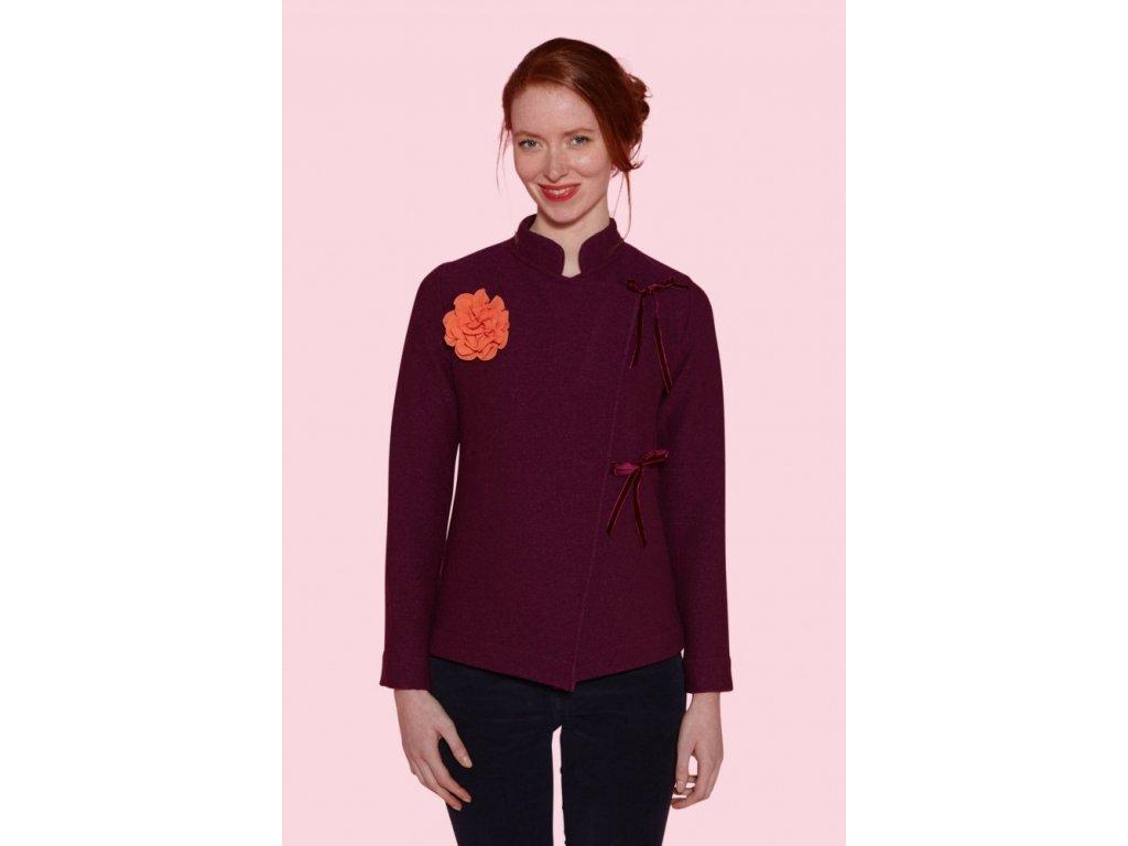 sako svetr antoine et lili  fialová švestková Tamaris chinese jacket