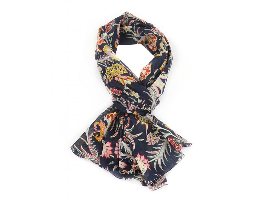 Šál pestrobarevný / vzor Květy & Listy / modrá námořnická, starorůžová / Bavlna