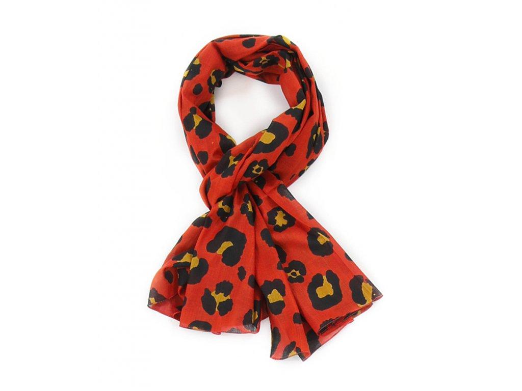 Šál šátek pestrobarevný / vzor Leopard / cihlová, okrová / Bavlna