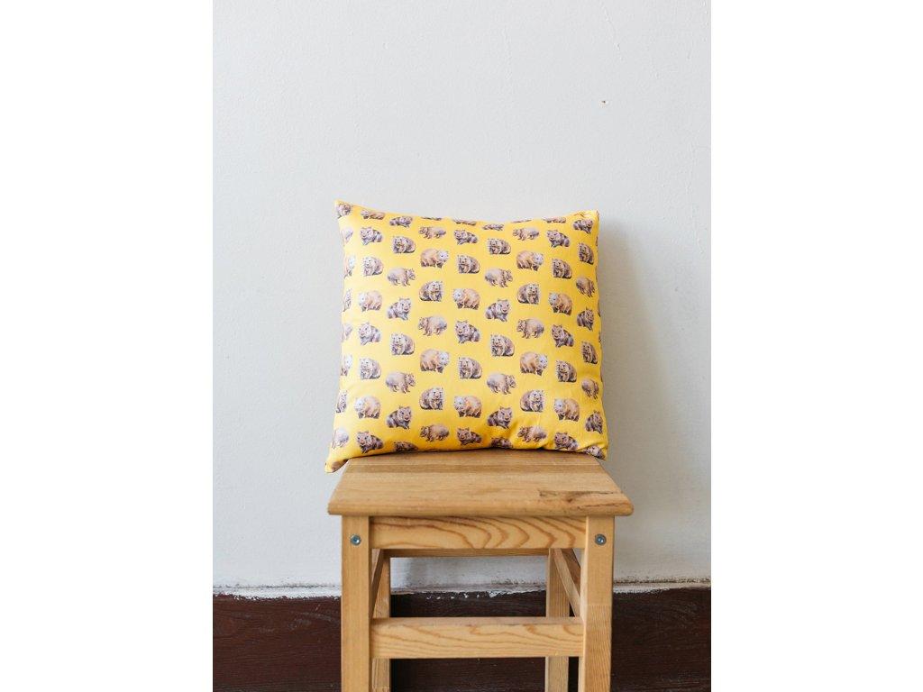 Bavlněný povlak na polštář Wombat ANNANEMONE / australský zvířecí motiv, žlutá