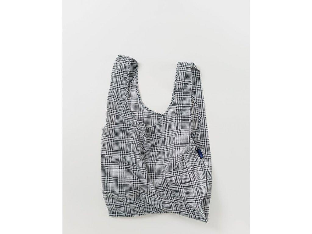 eco Ripstop Ekologická nákupní taška BAGGU / Glenček (Glen plaid) / šedá, černá & bílá
