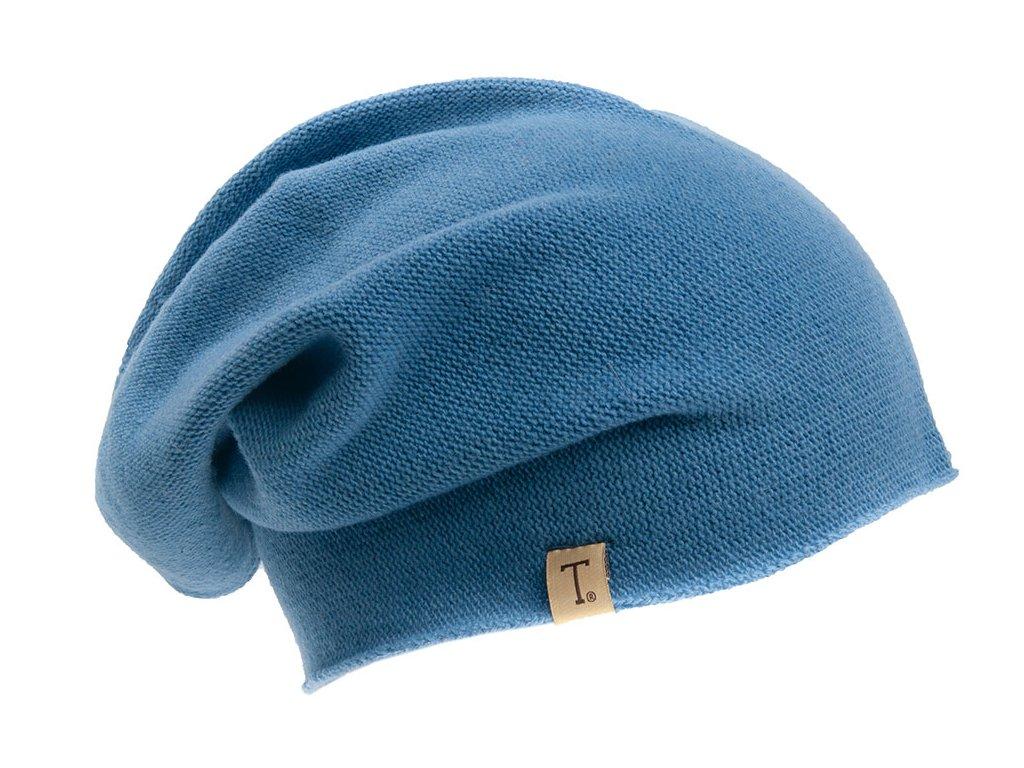 Vlněná čepice / baret s kašmírem TONAK Otigilir 315 050070 pletena modra
