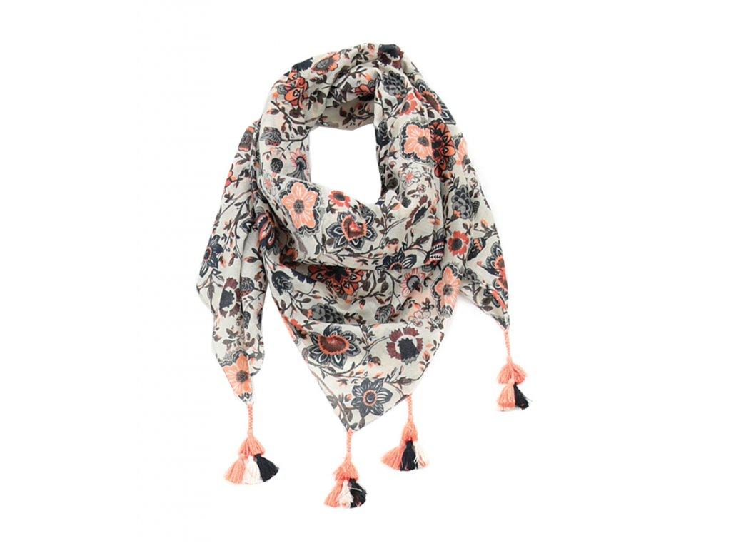 strapce kytky Šátek pestrobarevný květovaný se střapci / Bavlna / lososová, růžovo-modrá