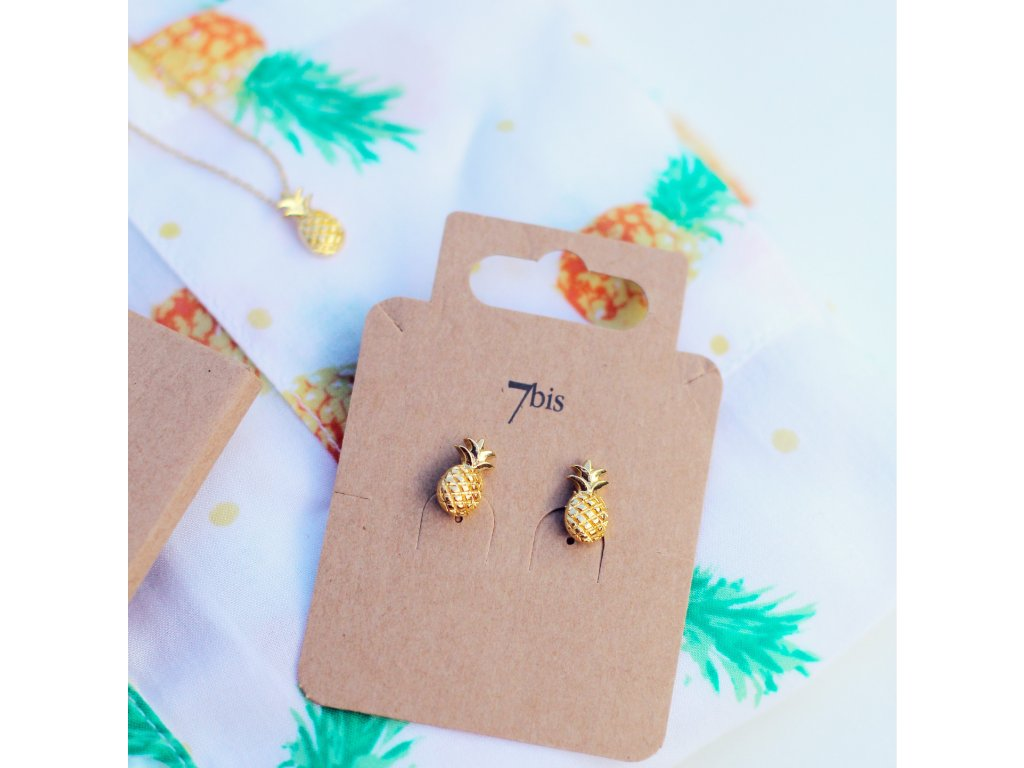 ananas náušnice náhrdelník 7bis zlatá