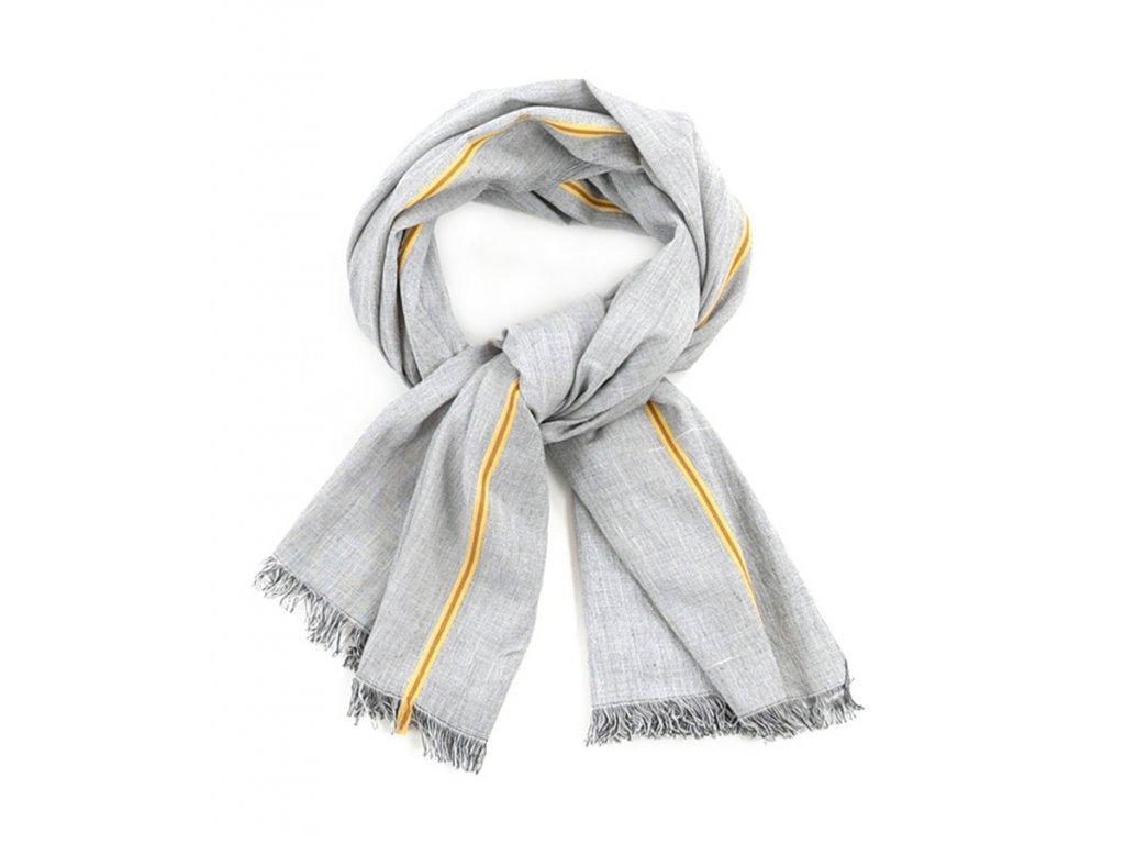 Šál pánský s třásněmi / Bavlna a Viskóza / šedá, žlutá