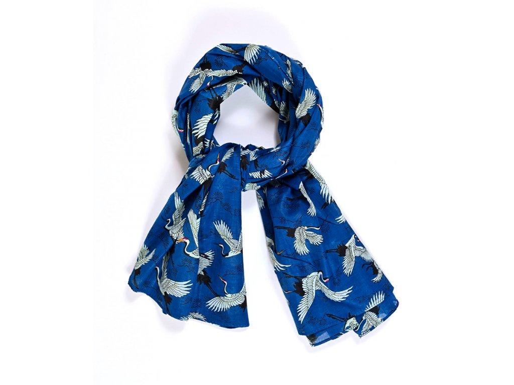 Šál Volavky / červená, modrá / Bavlna / dámský, pánský, unisex šátek