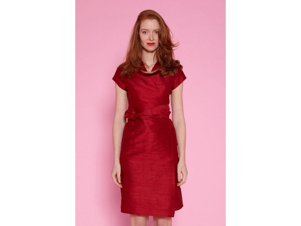 Dámské zavinovací šaty z divokého hedvábí Sauvage Robe Chinoise ANTOINE ET LILI / karmínová červená