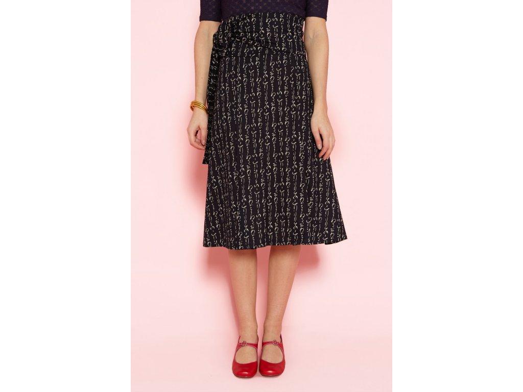 Zavinovací bavlněná plisovaná sukně Jupe Plis Bleu ANTOINE ET LILI / japonský indigo modrotisk / Kanji